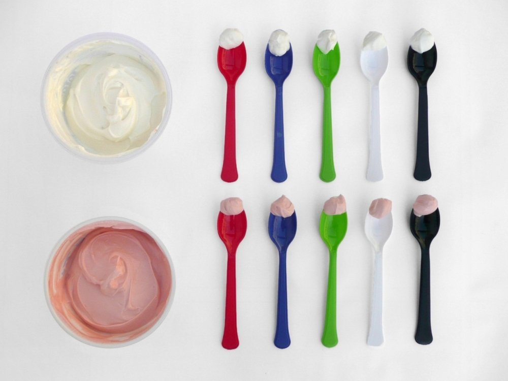 A selection of the cutlery and foods used in Harrar and Spece's (2013) study looking at the effects of cutlery on taste / flavor perception.