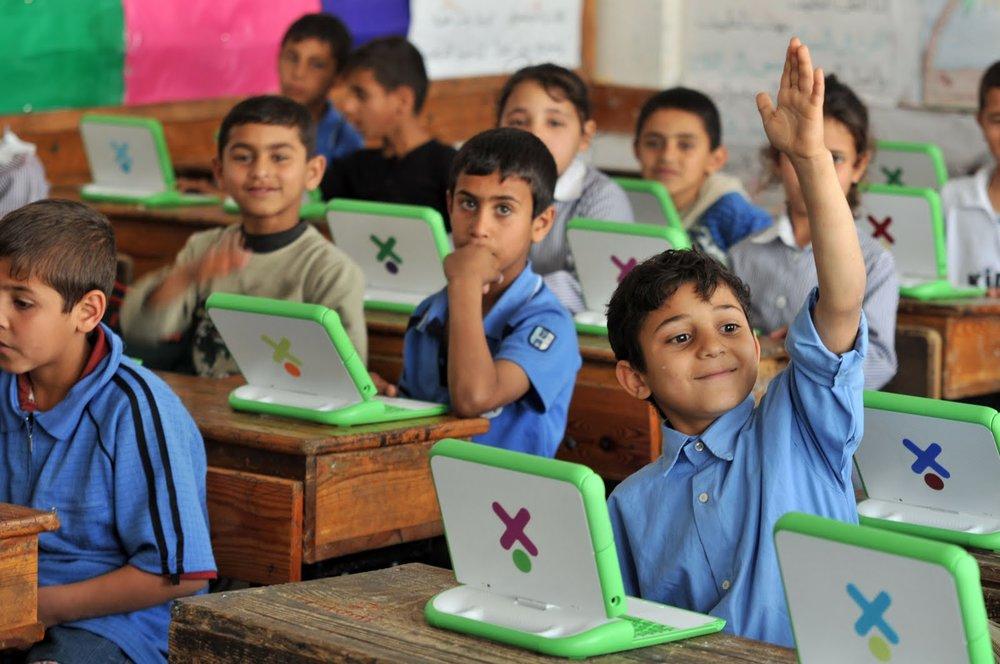 OLPC Laptops in a classroom in Gaza, Palestine.