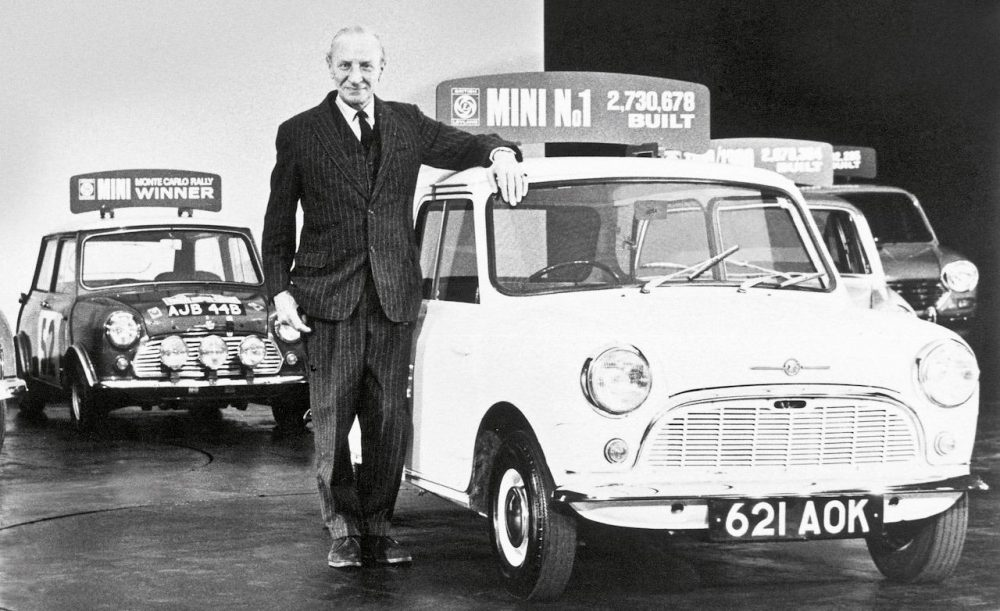 Lead Mini designer Alec Issigonis with the Austin Mini Cooper S.