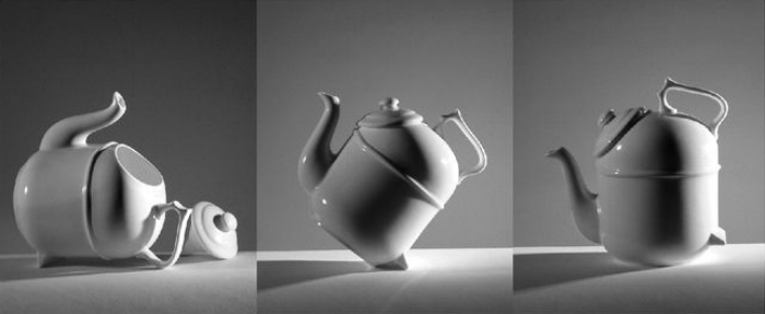 """Tilting"" teapot by Ronnefeldt. A, B, C steps. Donald Norman's collection."