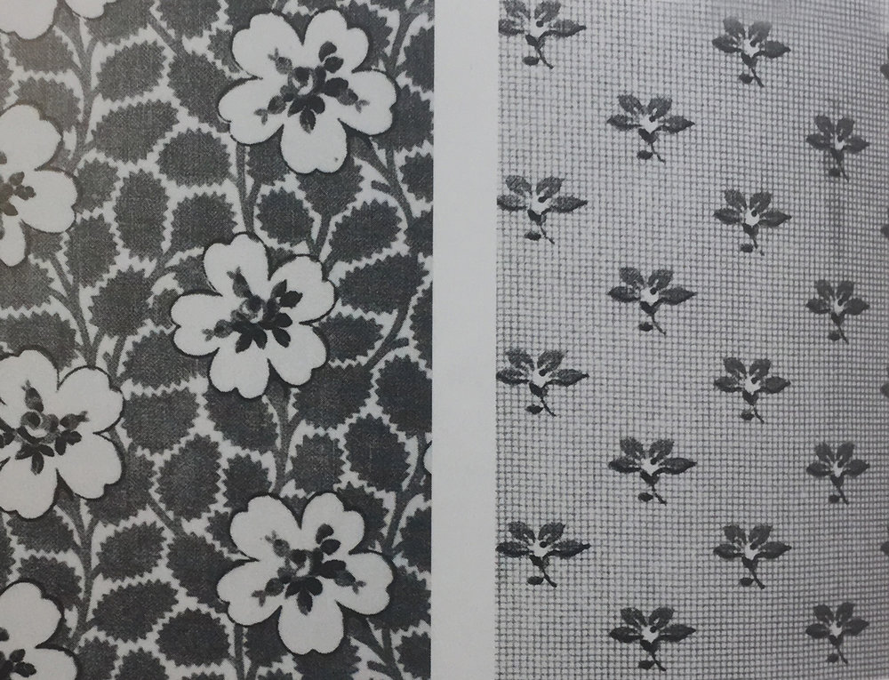 Cotton print design patterns designed for the working-class market, English. (1850)