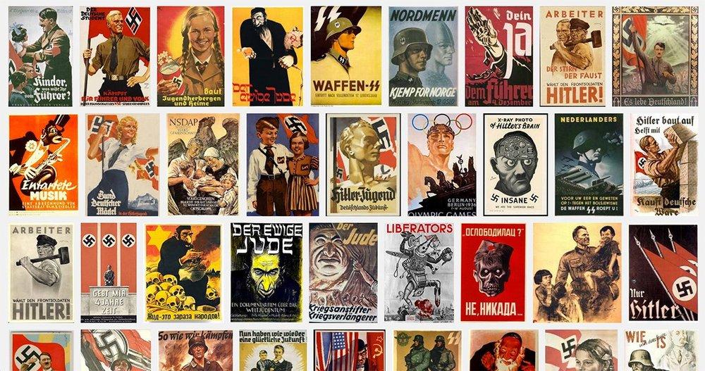 Graphic design of Nazi propaganda posters.