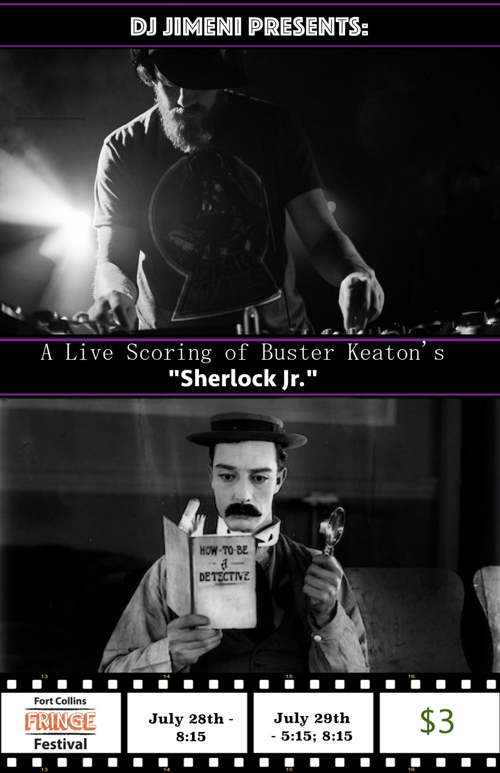 "DJ Jimeni presents a Live scoring of Buster Keaton's, ""Sherlock JR."""