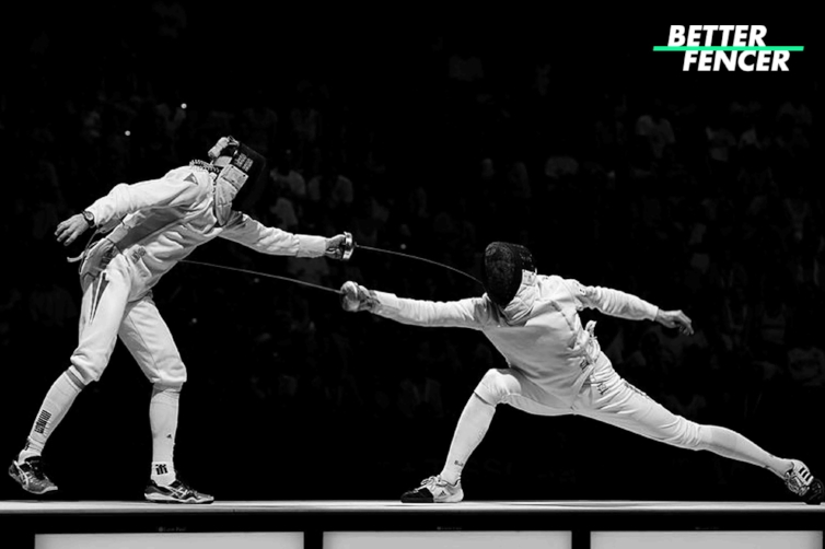 Epee Fencer Scoring a one-light counter attack with long arm extension