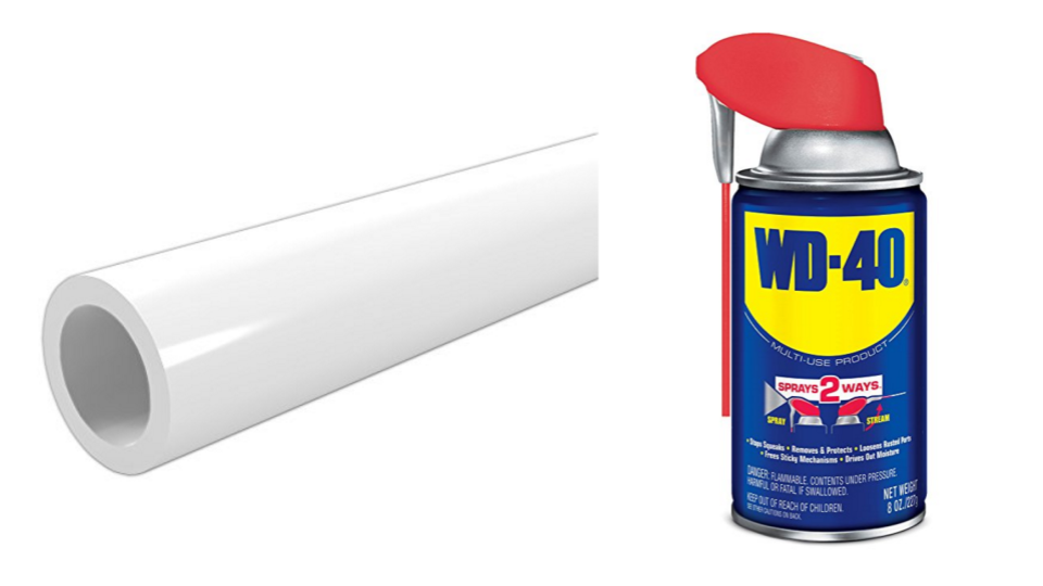 Cut PVC pipe and WD40 can protect fencing blades from rusting