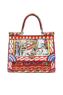 Small Sicily Printed Leather Tote Bag
