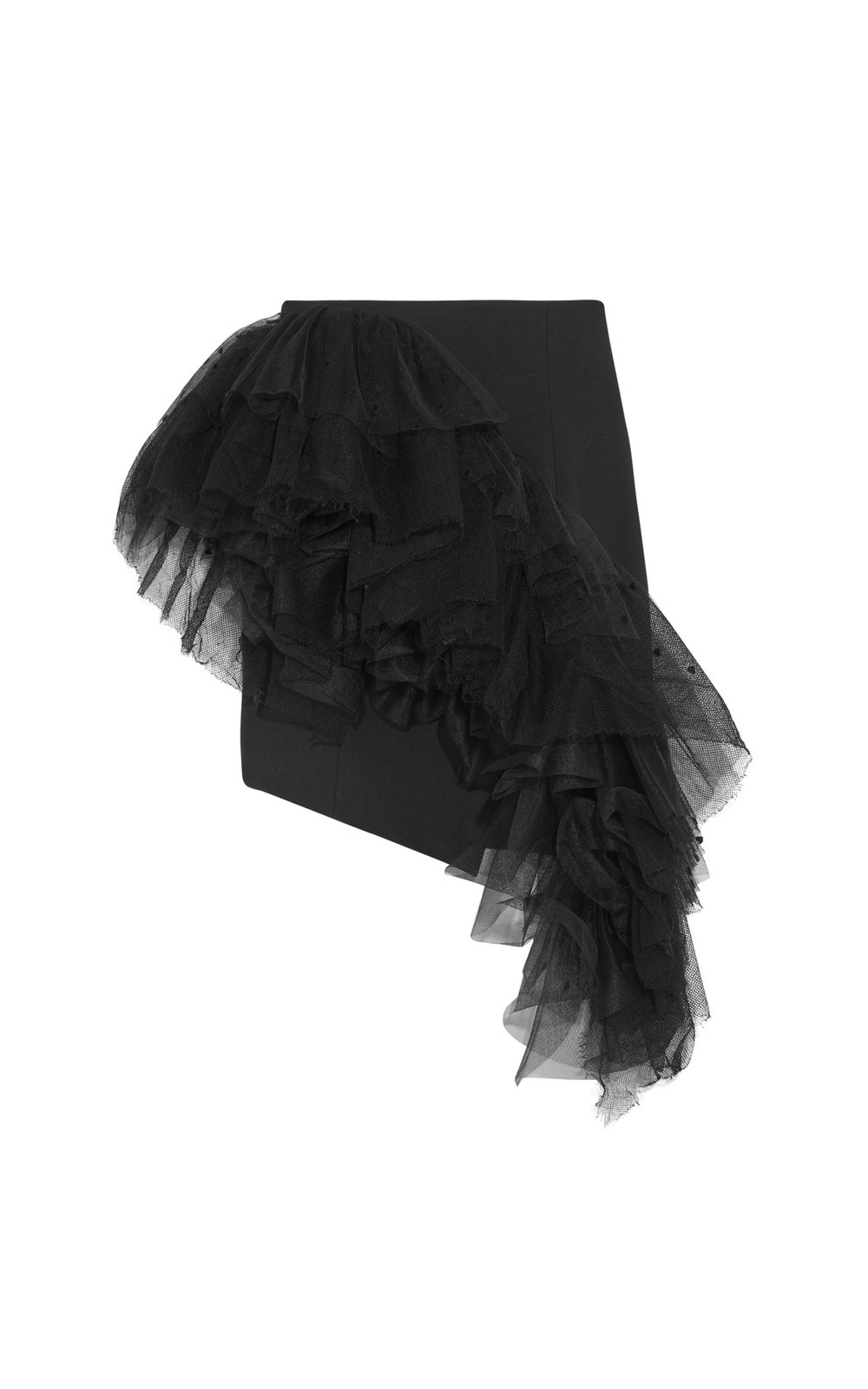 Ruffled Flocked Tulle Skirt