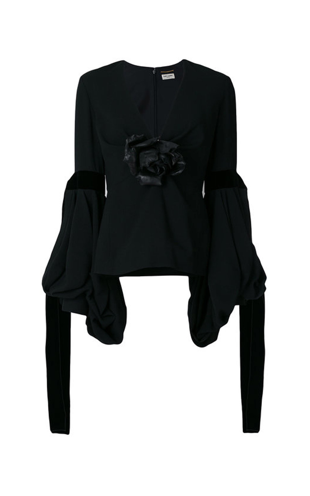 Plunge Blouse With A Leather Flower