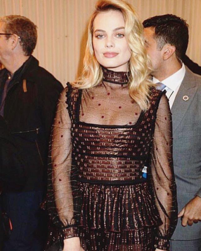 Margot Robbie in Alexander McQueen's Sheer Pattern Dress available on oprent.com