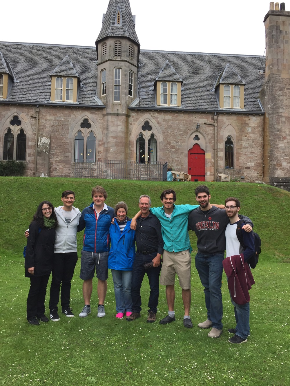 Oberlin Studio (+), in front of Cathedral: Sarah, Lenny Ranallo, JoNell & Stephen Aron, Mohit Dubey, Collin Sterne, Brian King