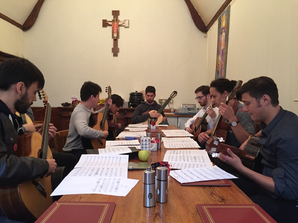 The octet rehearsing: Roberto, Zack (out of shot, from Scotland), Diego, Mohit, Collin, Brian, Maso (from Sydney), and Lenny.