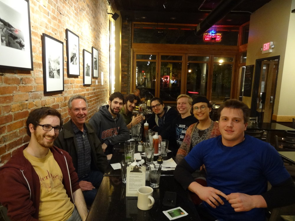 At the Feve afterwards: Brian King, Stephen Aron, Collin Sterne, Mohit Dubey, Daniel Firebanks Quiveda, Aidan Wiley Lippke, Jonathan Bodian and Stephen Fazio