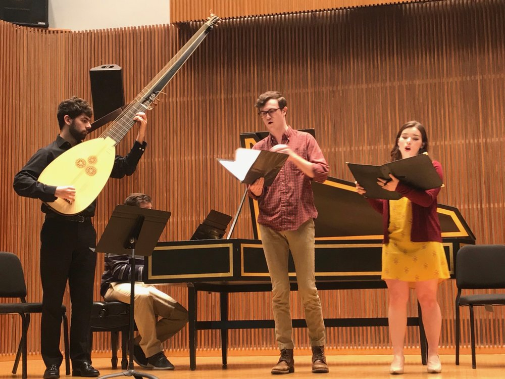On stage in Kulas Hall for the Historical Performance Divisional Recital