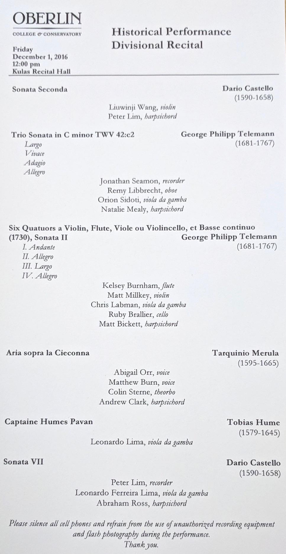 Collin played in the Merula aria.