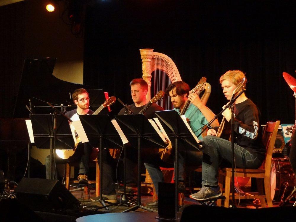 The guitar quartet plays Sergio's  Alvorado Tropical