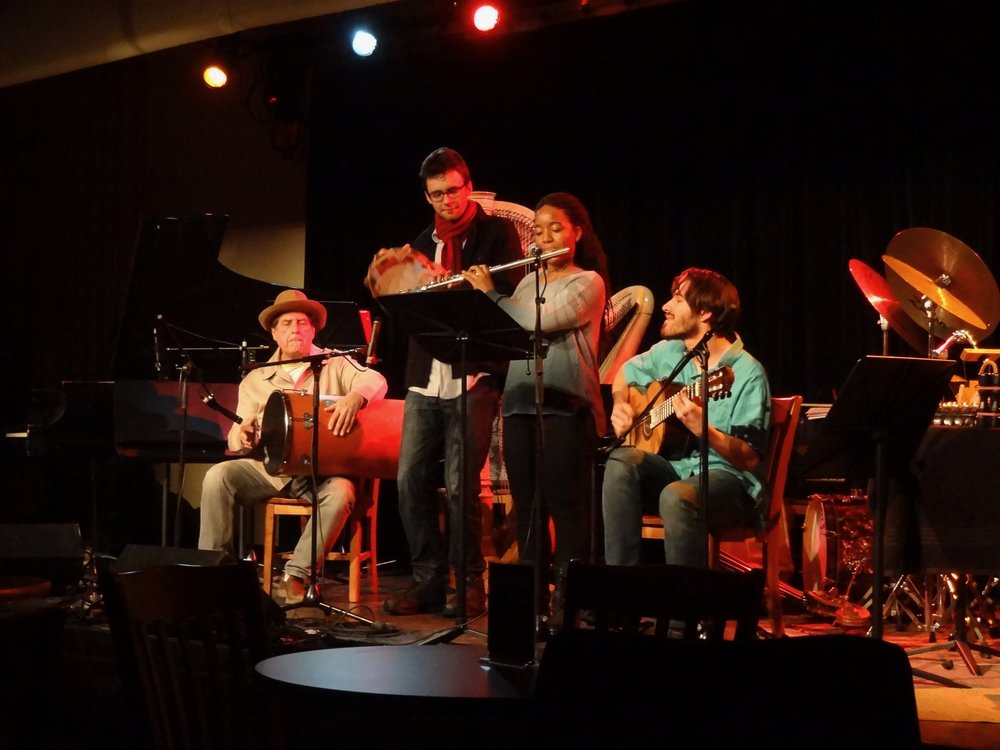 Mohit Dubey, along with Karisma Palmore, flute, and Liam Smith and Jamey Haddad, percussion, play Sergio's  Mangabeira