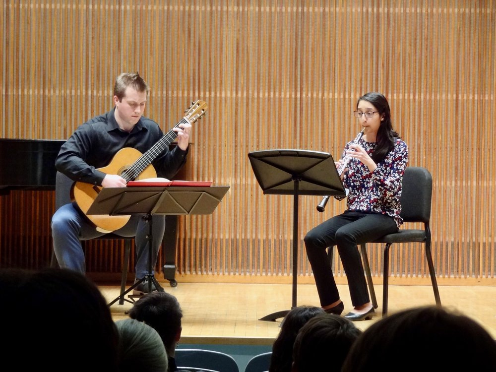 Stephen Fazio and oboist Tanavi Prabhu