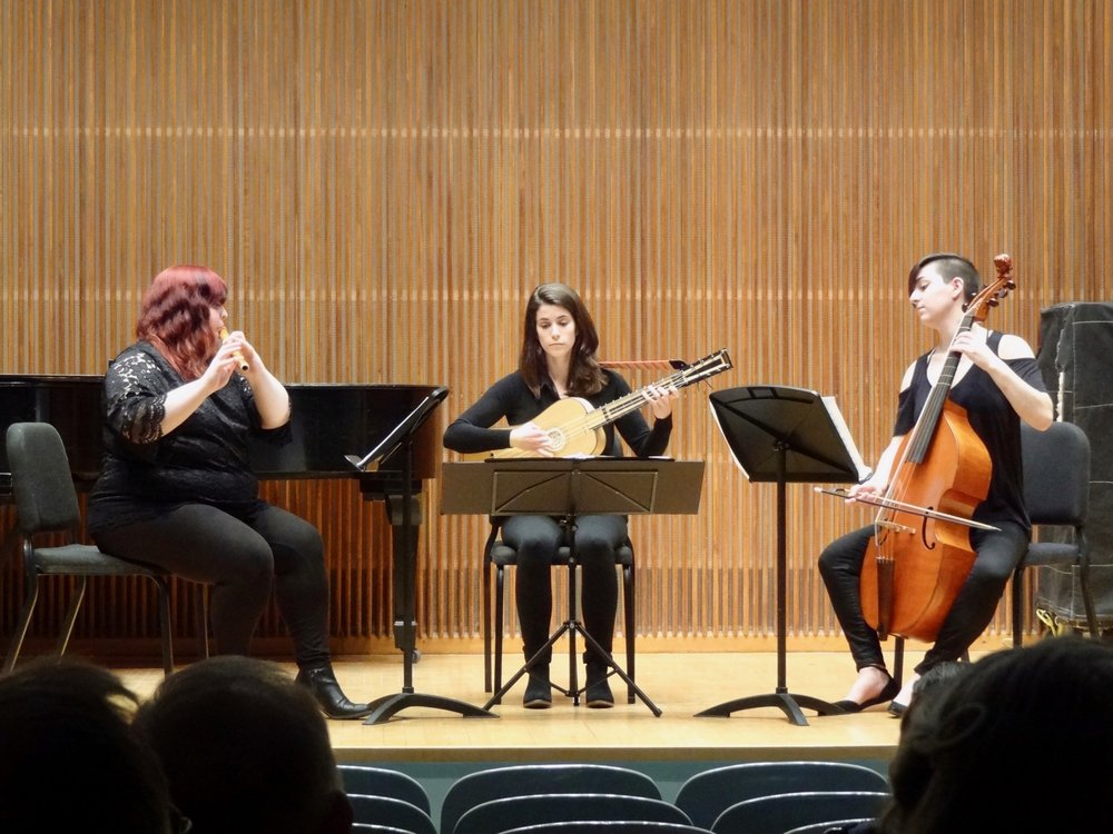 Baroque music on original instruments: Kelsey Burnham, Rebecca Klein and Ruby Brailler