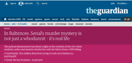 "Screen shot of Guardian article about ""Serial."""