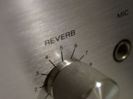 "A stainless steel ""Reverb"" nob on a guitar amp."