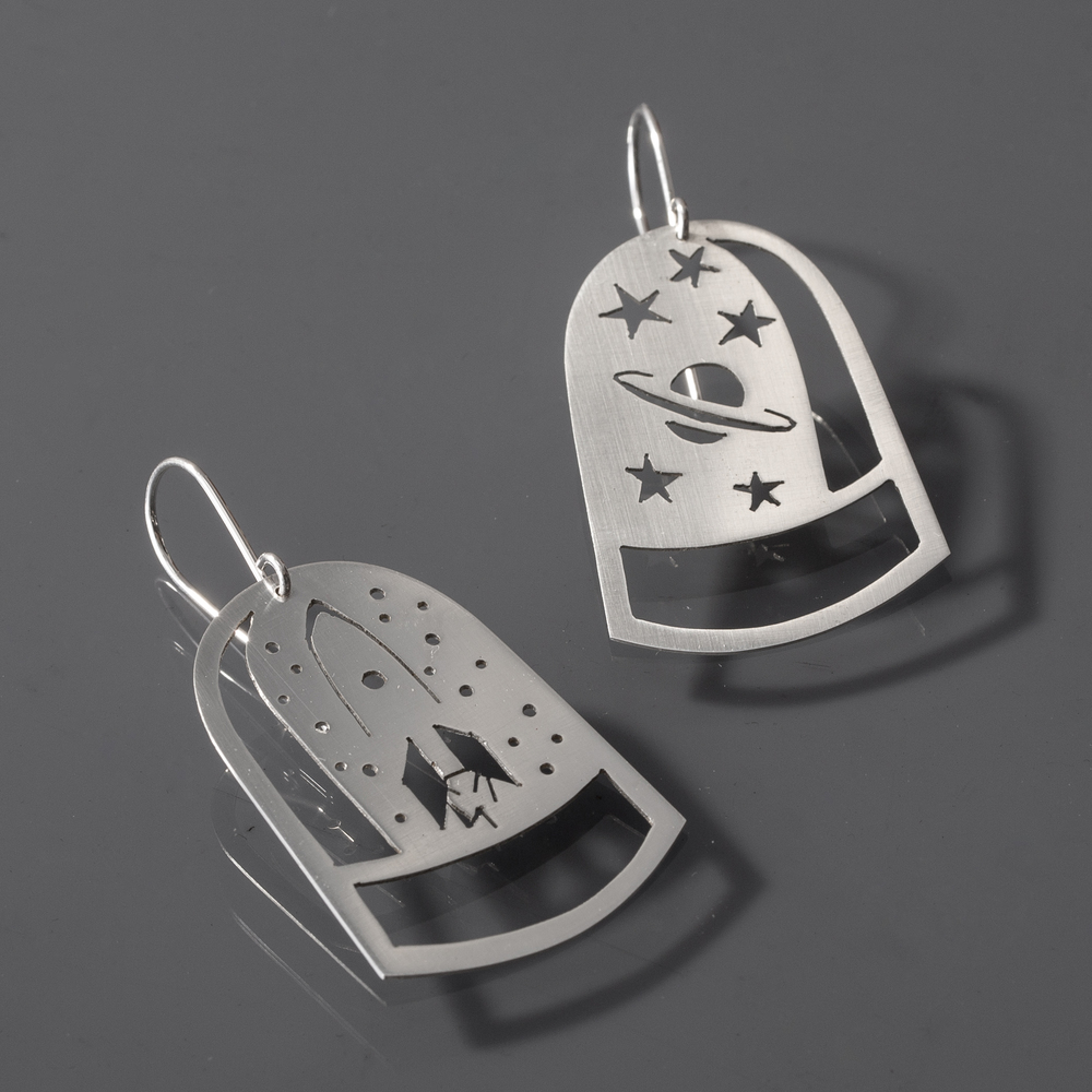 Rocket Man Dome Earrings