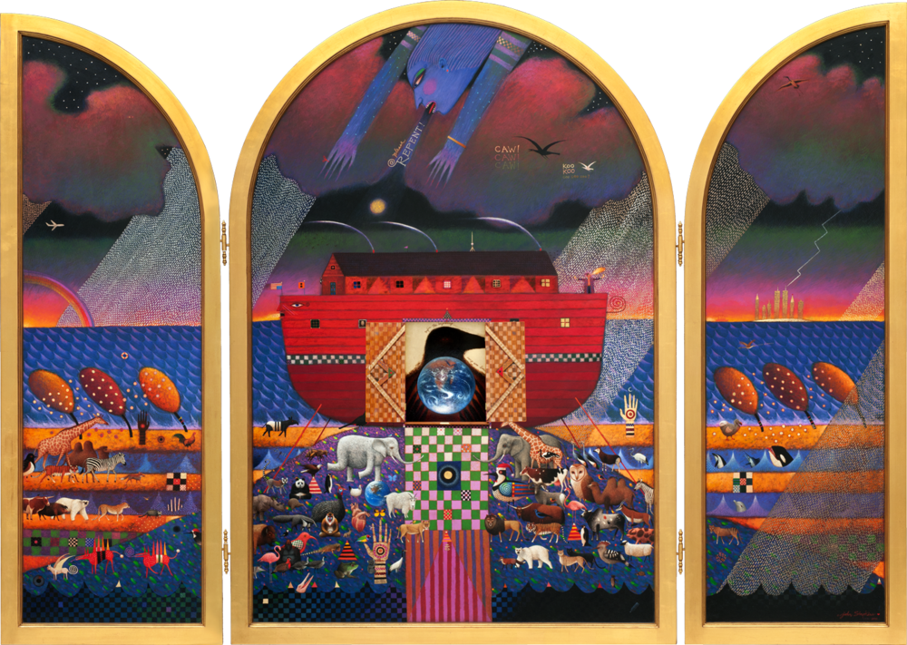 "The full front of ""The Flood Triptych"" in its open position with the center door open exposing the raven inside. The final opened piece measures eight feet wide by six feet high by eight inches deep."