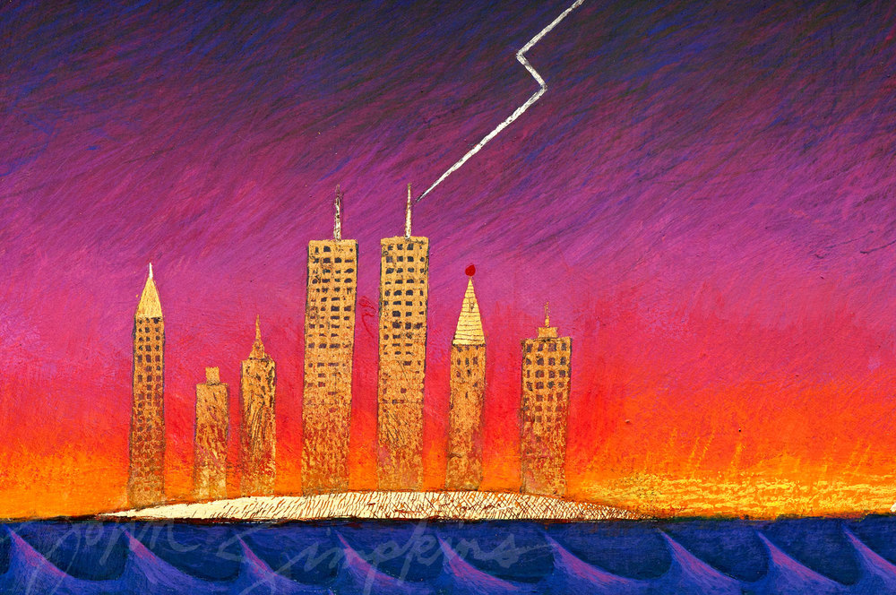 "The Twin Towers as painted in 1999 on ""The Flood Triptych."""