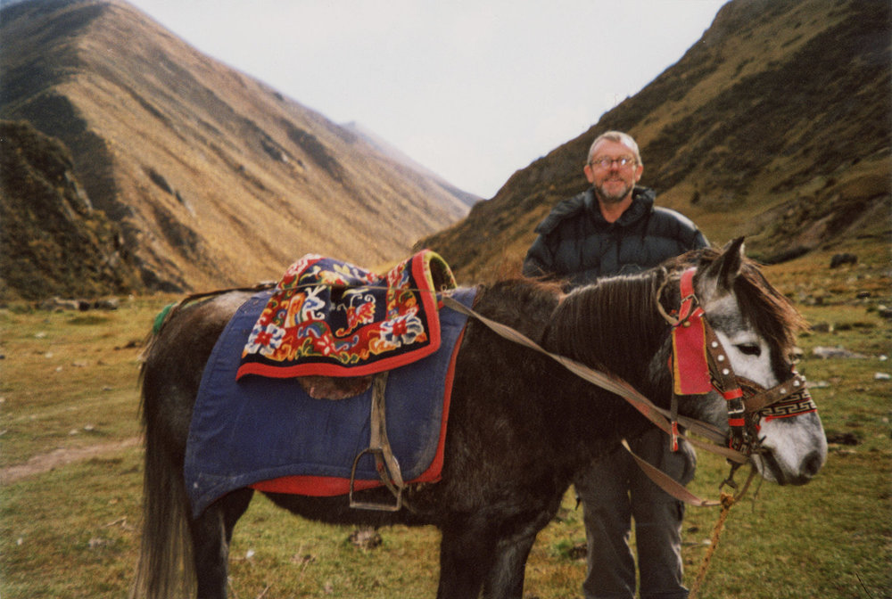 Simpkins in Tibet, 2003.  The landscapes of these two locations are nearly geographically identical.