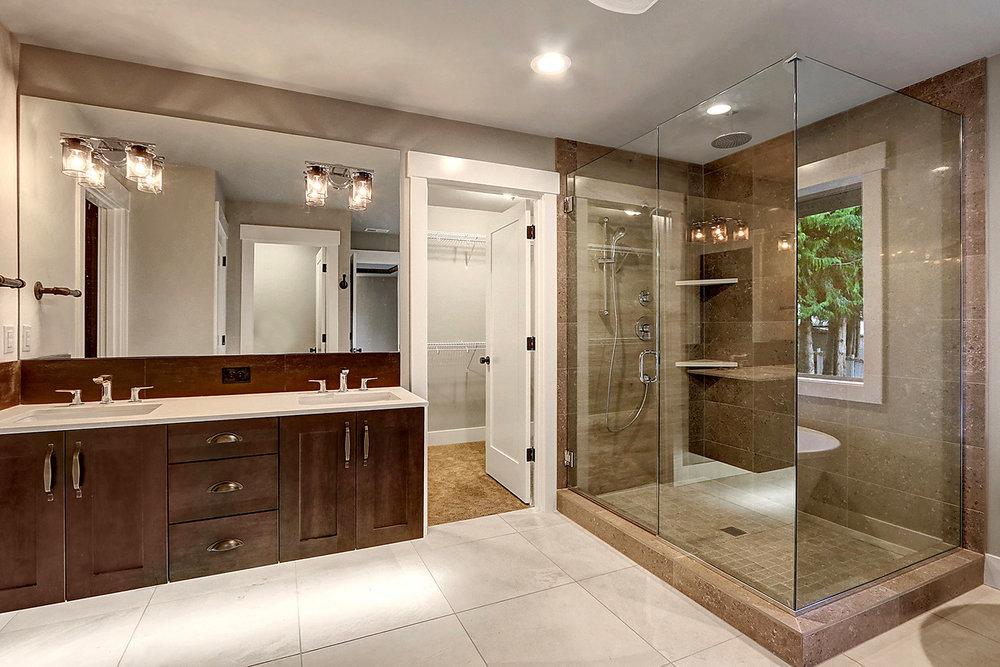 Master Suite Bathroom - Dual Vanity, Glass Shower Enclosure,  and Walk-In Closet #1