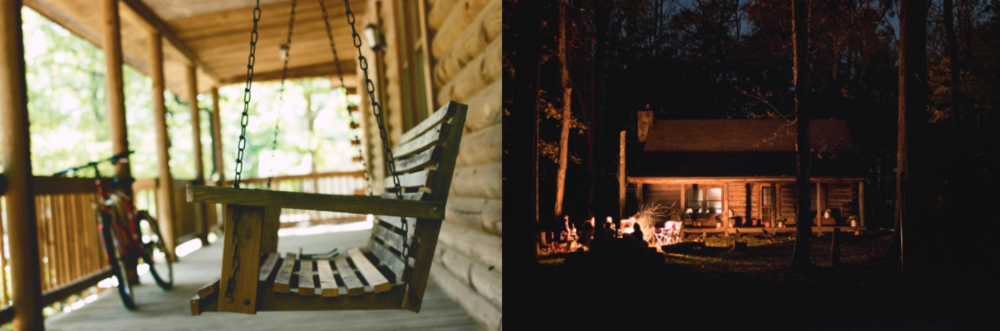 Rustic, humble cabins and mood lighting ignite a sense of warmth, comfort and nostalgia.