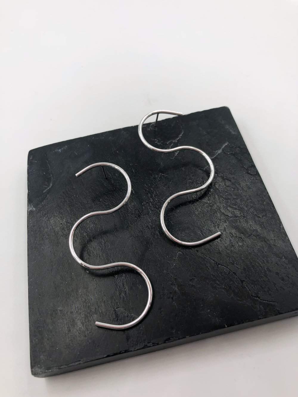 "Large Squiggle Post Earrings  Item #: E2000  Size: 2.5"" in length  Wholesale Price: $19  Suggested Retail: $38"