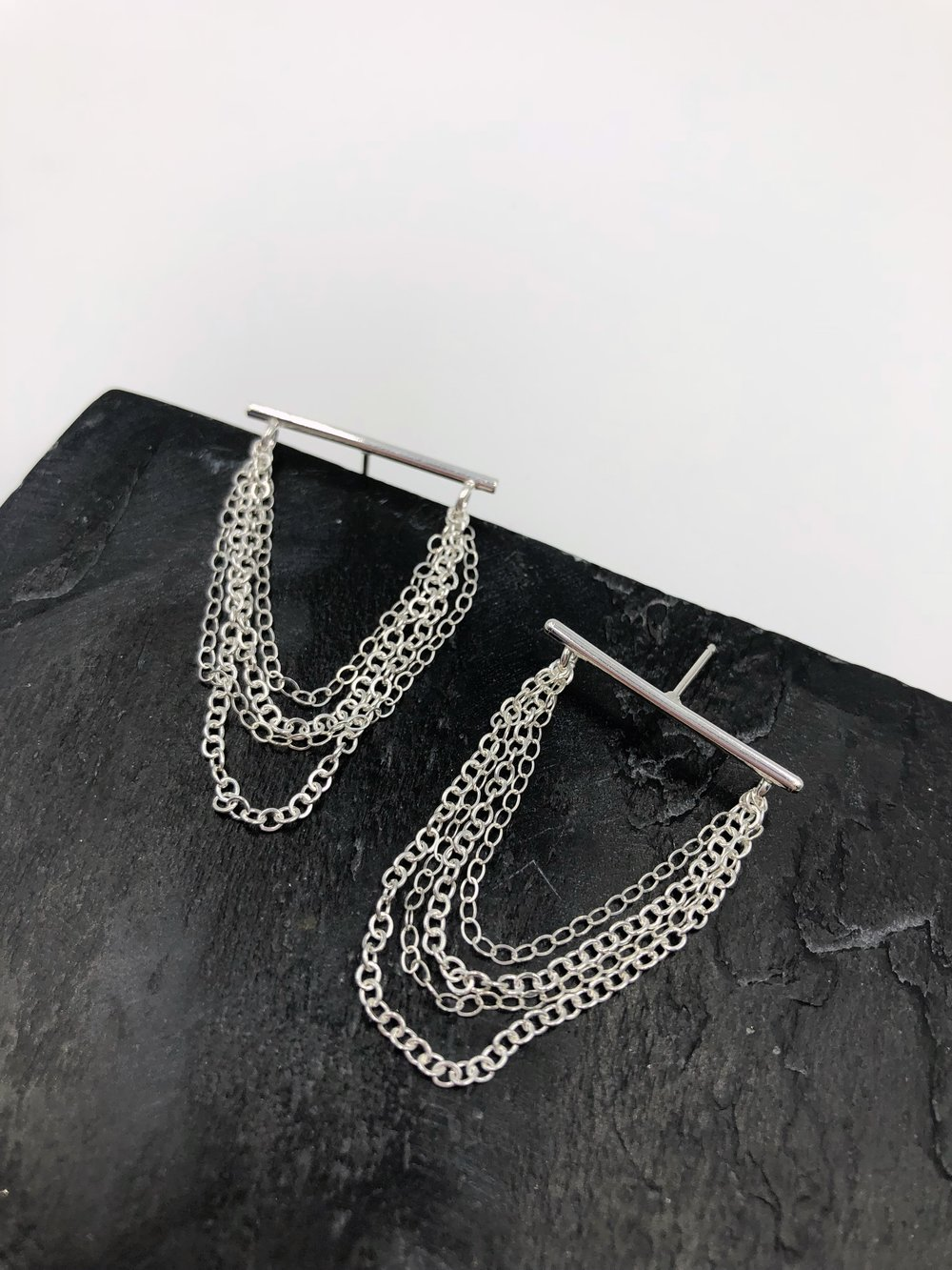 "Waterfall  Post Earrings  Item #: E2005  Size: Top Bar- 1""; Chain Drop- 1.5""  Wholesale Price: $19  Suggested Retail: $38"