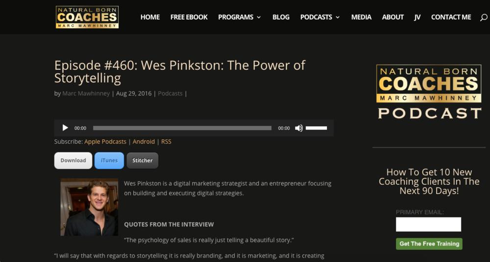 Episode #460: Wes Pinkston: The Power of Storytelling -