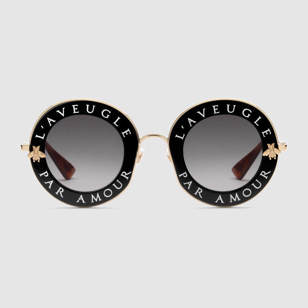 GUCCI - Round-frame metal sunglasses