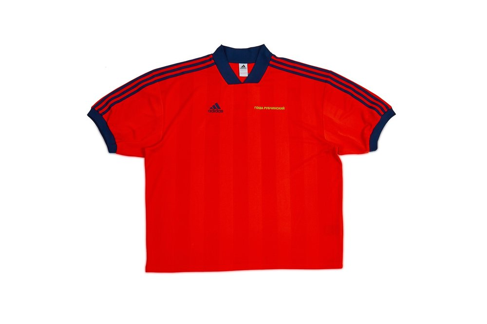 The drop will coordinate in time for this years World Cup in Russia.  The red and blue colors in this soccer  Adidas  jersey gives allusion to the host nation's emblematic colors.