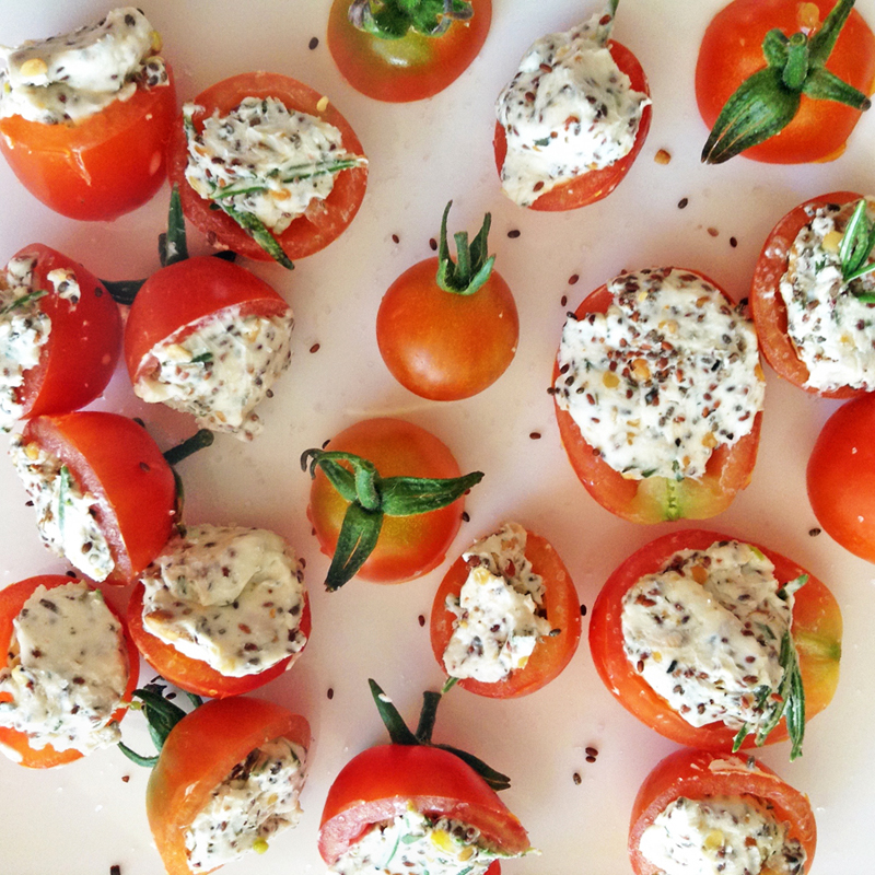 keto stuffed tomatoes and stuffed cherry tomatoes for keto snack