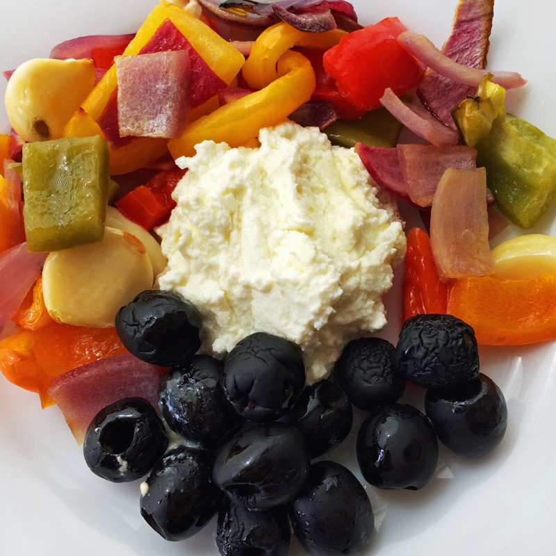 Roasted veggies and goat cheese for dinner on the keto diet. Enjoy keto dinner recipes on the ketogenic diet.