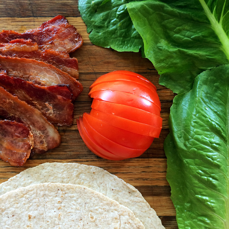 Low carb blt wrap with keto ingredients. Make this keto wrap recipe for lunch.