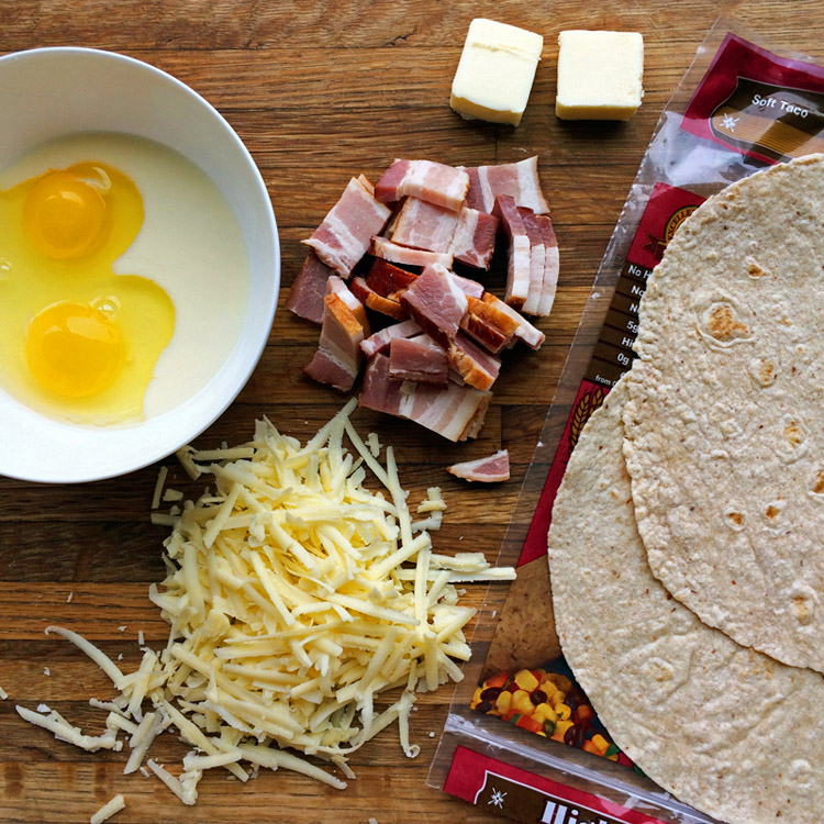 Low carb breakfast burrito ingredients. Make a keto breakfast burrito for a quick meal.