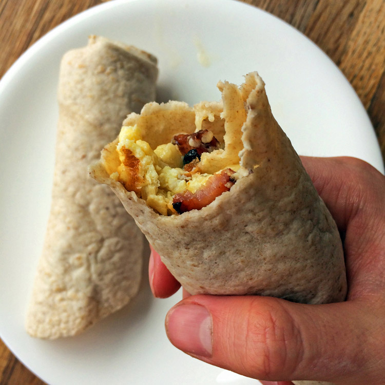 Eat a breakfast burrito for the keto diet. Use high fiber tortillas to make low carb wrap recipes.