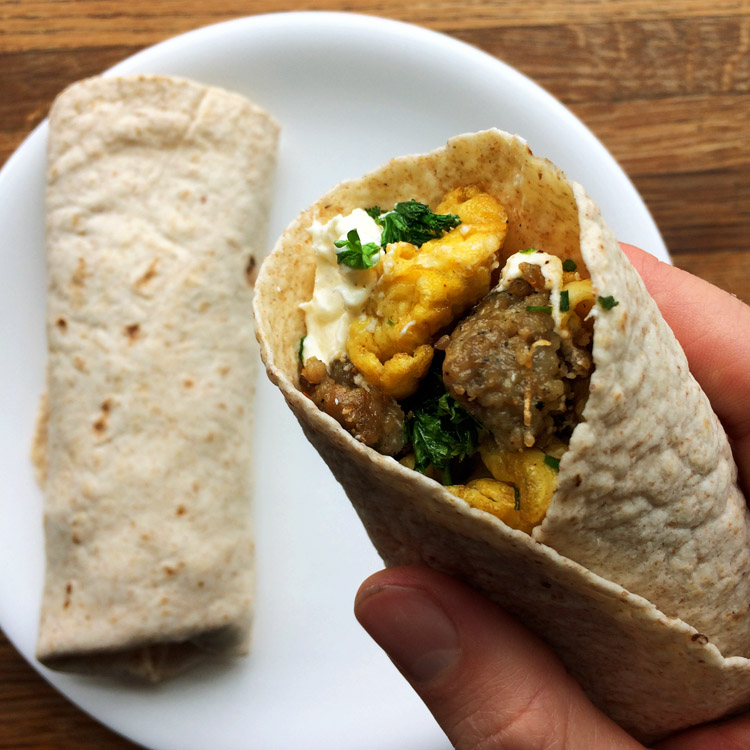Enjoy a breakfast burrito on the keto diet. It's a low carb wrap for easy breakfasts.