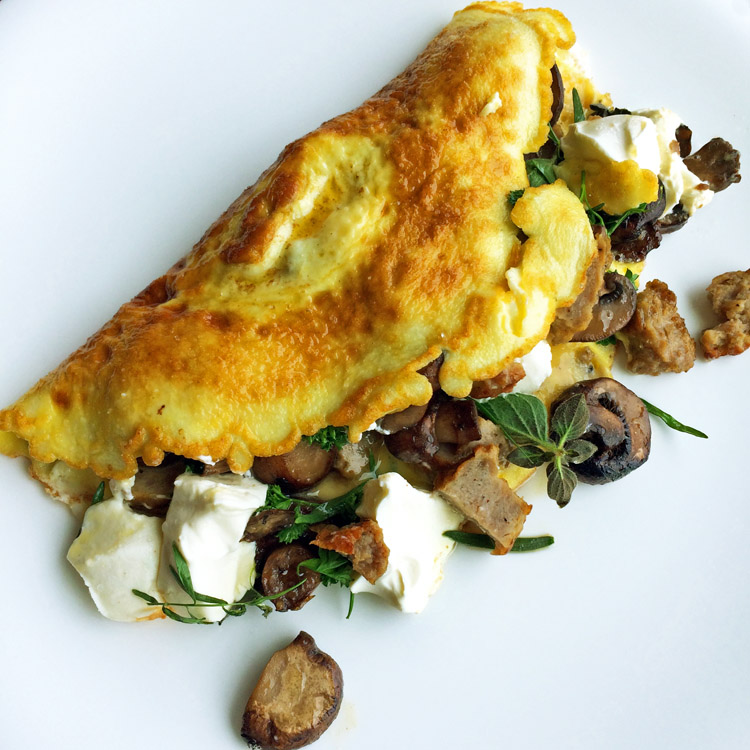 Low carb omelette with sausage and cream cheese. Make this keto omelette on the ketogenic diet.