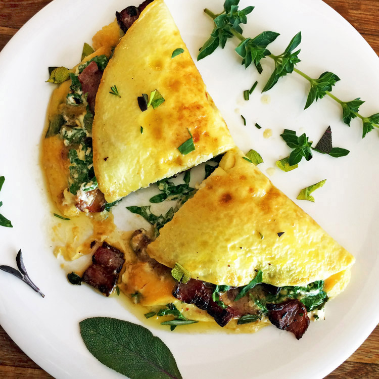 Keto omelette recipe with low carb cream cheese. Make this easy breakfast meal on the ketogenic diet.