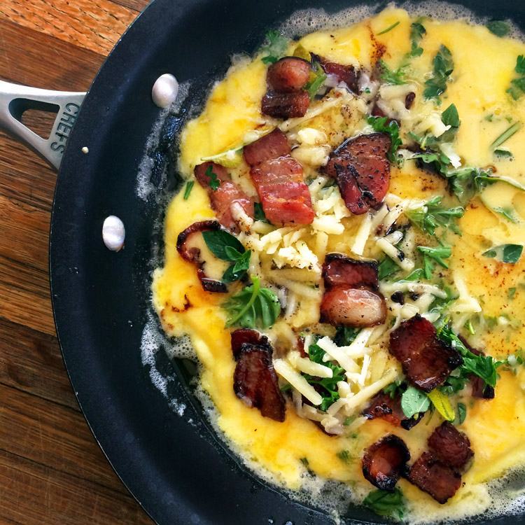 Keto bacon omelette with cheese. Make this keto omelette for a simple breakfast recipe.