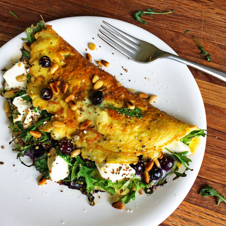 Keto omelette recipe with blueberries. Make a low carb omelet for the ketogenic diet.