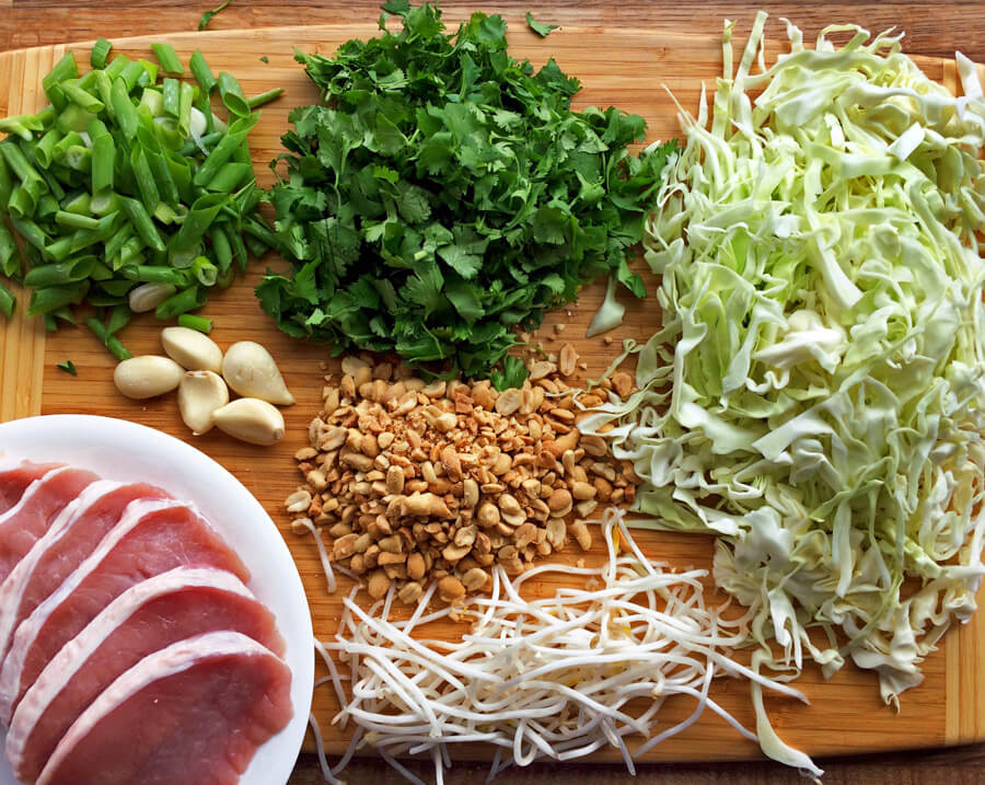 Keto pad thai recipe with fresh ingredients. Make this low carb pad thai on the ketogenic diet. Use sliced cabbage for asian noodles.