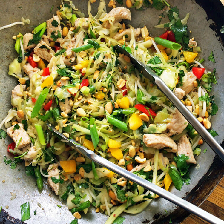 Keto pad thai recipe for the ketogenic diet. Make low carb pad thai with cabbage noodles and veggies. Cook in a large pan or wok.