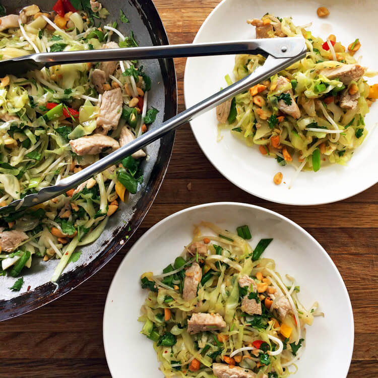 Best pad thai recipe for the keto diet. Make keto pad thai noodles with cabbage. Use a stir fry wok or large pan.