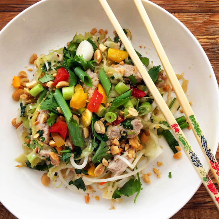 Easy keto pad thai recipe for dinner. Use cabbage as noodles for this dinner meal. Your family will love this keto friendly recipe!