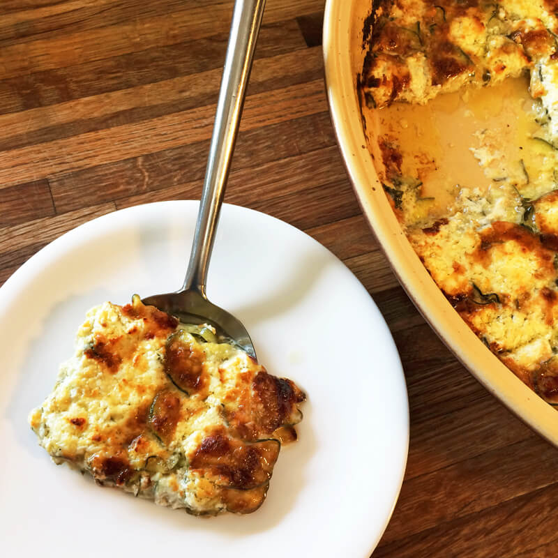 Make a keto dinner with scalloped zucchini potatoes. This is a great keto recipe to use for a family BBQ.